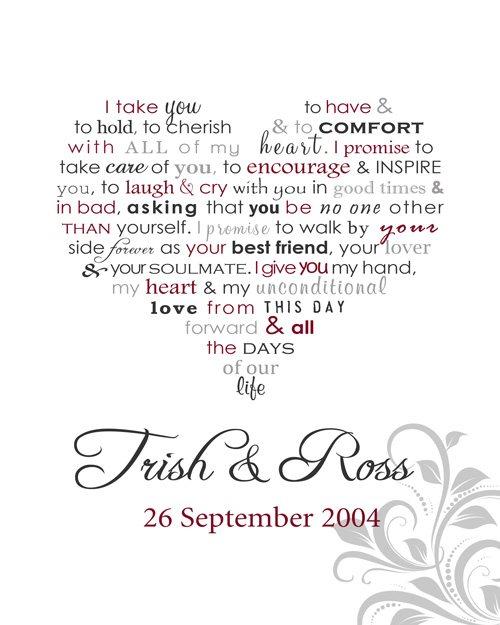 personalised word art framed print wedding vows